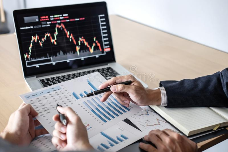 Business team on meeting to planning investment trading project and strategy of deal on a stock exchange with partner, financial. And accounting concept royalty free stock photo