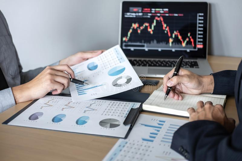Business team on meeting to planning investment trading project and strategy of deal on a stock exchange with partner, financial. And accounting concept stock photos