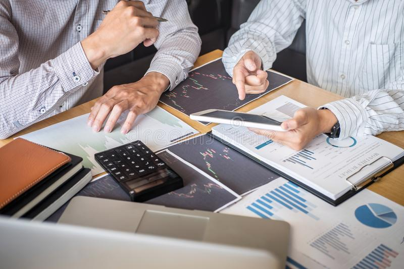 Business team on meeting to planning investment trading project and strategy of deal on a stock exchange with partner, financial royalty free stock photos
