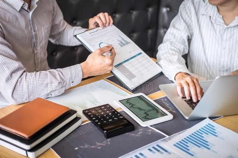 Business team on meeting to planning investment trading project and strategy of deal on a stock exchange with partner, financial stock photography