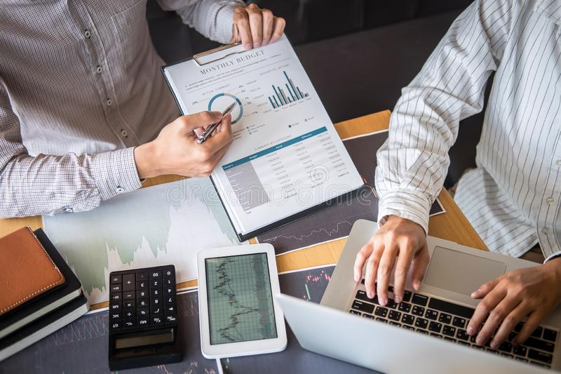 Business team on meeting to planning investment trading project and strategy of deal on a stock exchange with partner, financial royalty free stock images