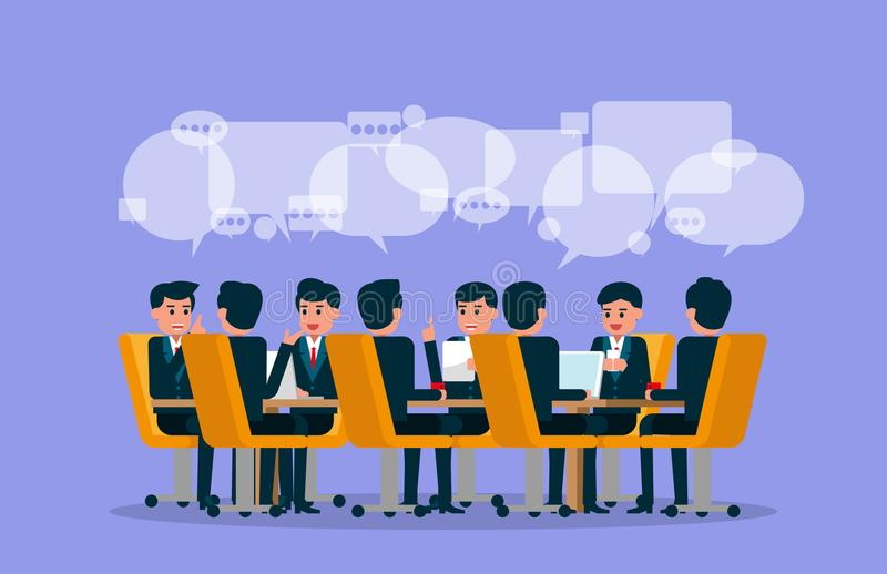 Business team meeting. Vector illustration of meeting. Brainstorming concept. stock illustration