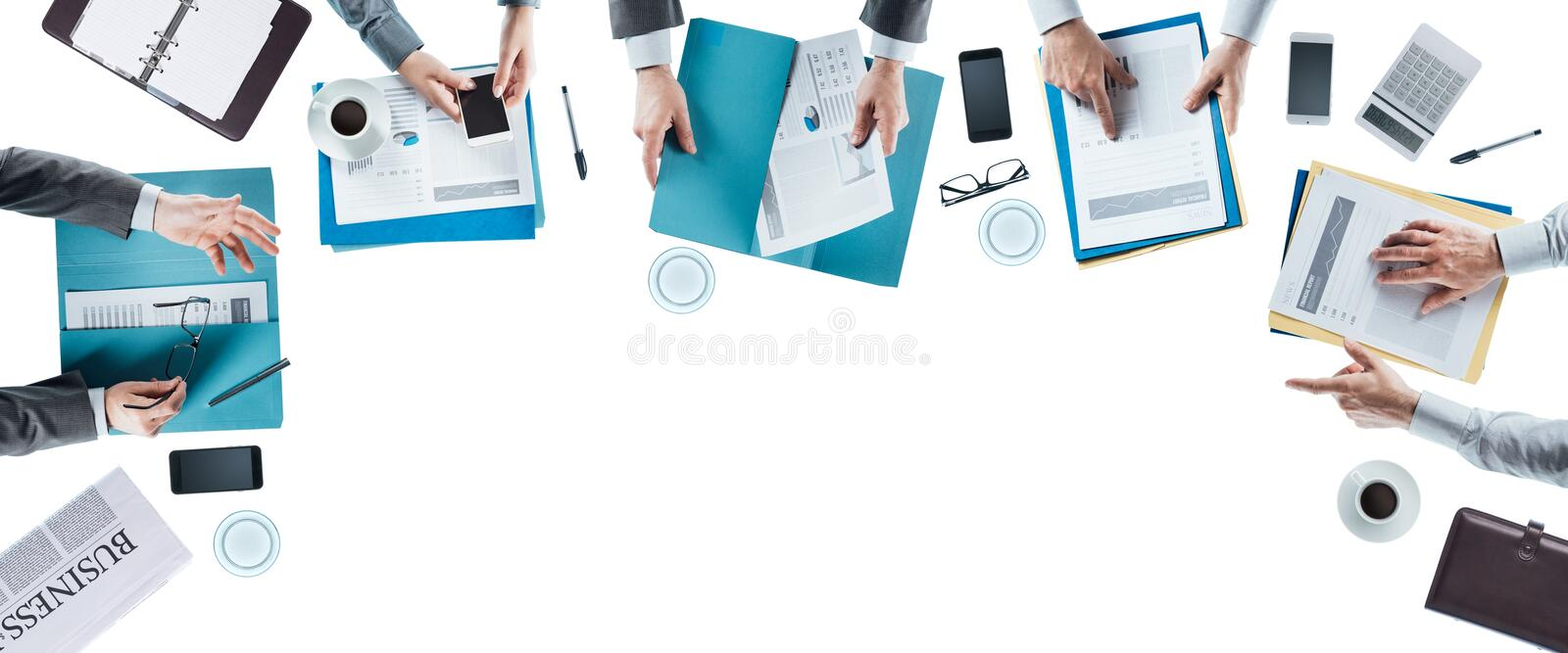 Business team meeting. And working at office desk, hands top view, unrecognizable people, blank copy space royalty free stock photos