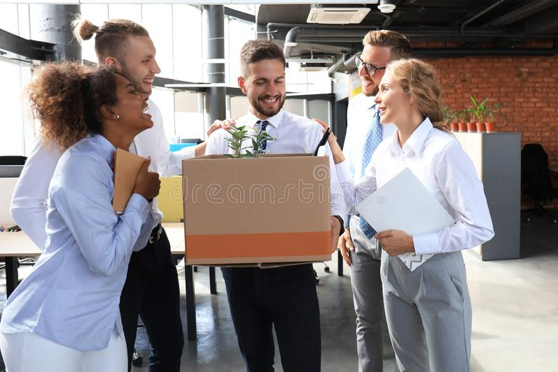 Business team meets a new employee in modern large office royalty free stock image