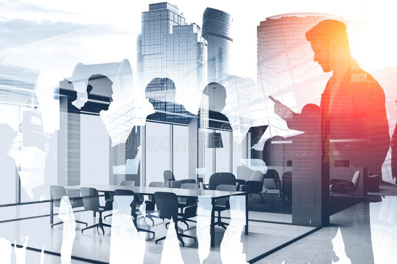 Business team in modern conference room stock photo