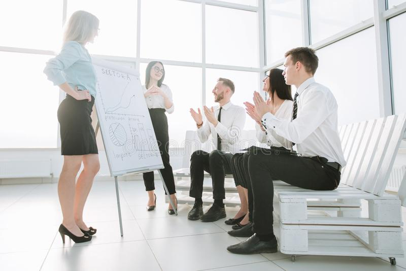 Business team in the new office is discussing their possibilities. The concept of a startup royalty free stock images
