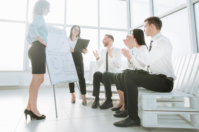 Business team in the new office is discussing their possibilities. The concept of a startup stock images