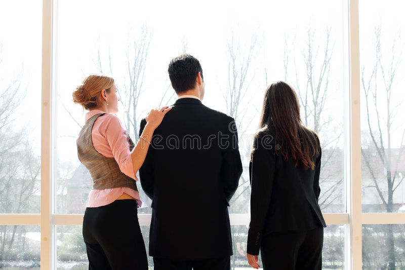 Business team in an office building royalty free stock photos