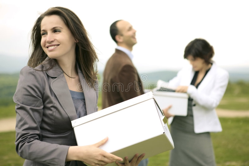 Business team outdoors royalty free stock photos