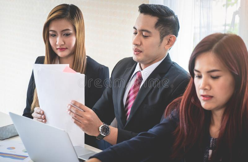 Business team packing up after finish business meeting royalty free stock images