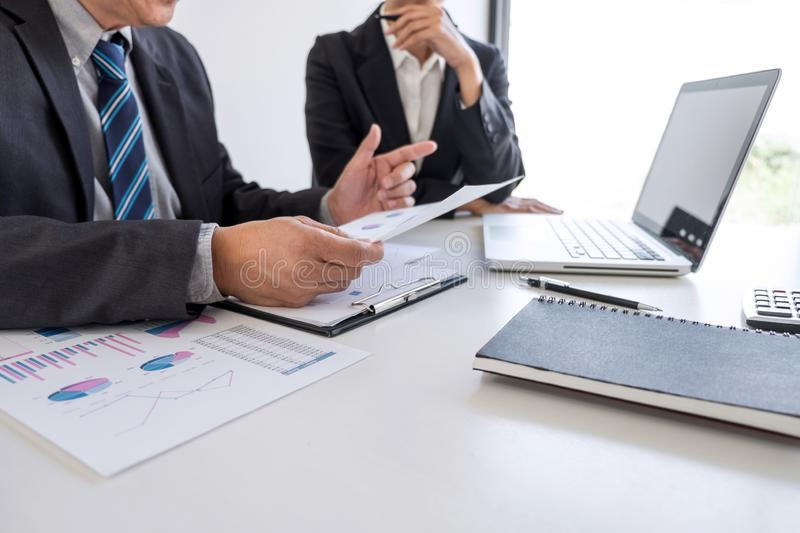 Business team partner meeting working and negotiation analyzing with financial data and marketing growth report graph presentation. In team, Meeting Talking royalty free stock image