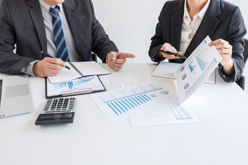 Business team partner meeting working and negotiation analyzing with financial data and marketing growth report graph presentation. In team, Meeting Talking royalty free stock photos