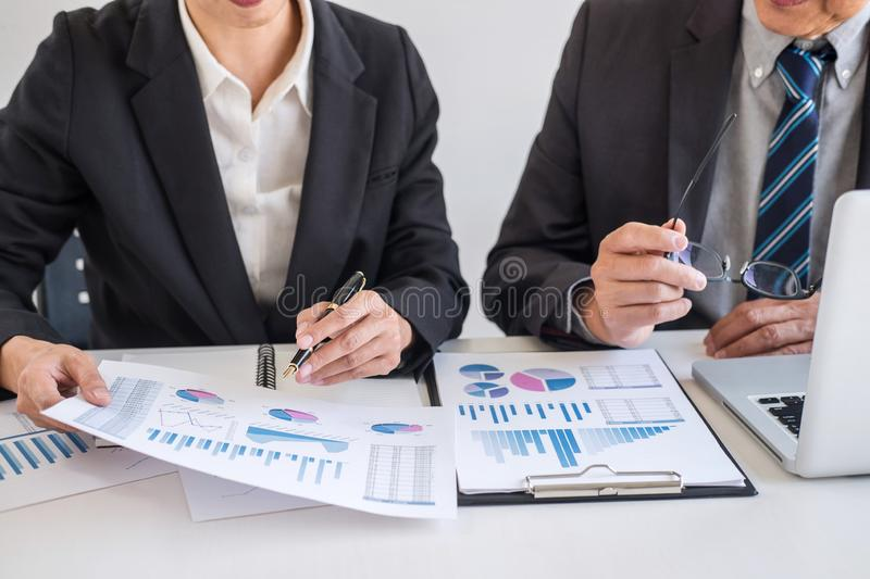 Business team partner meeting working and negotiation analyzing with financial data and marketing growth report graph presentation stock image