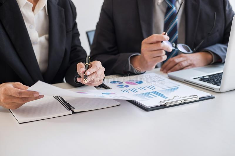Business team partner meeting working and negotiation analyzing with financial data and marketing growth report graph presentation stock images