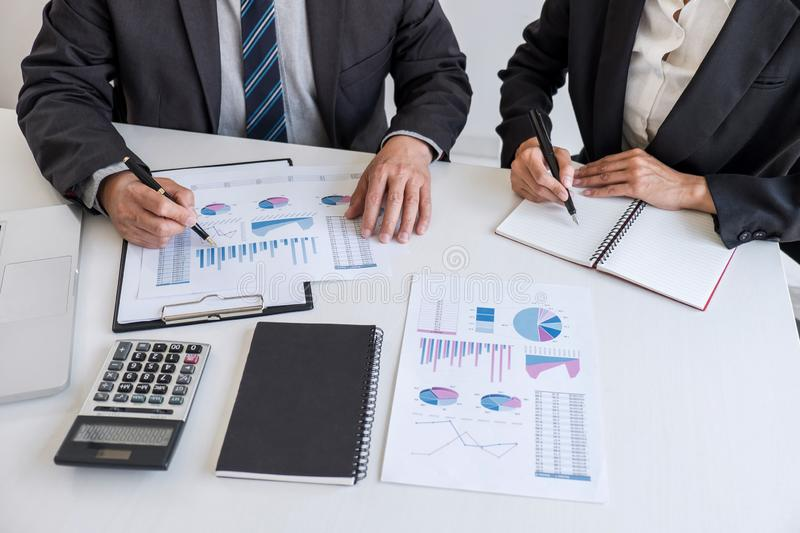 Business team partner meeting working and negotiation analyzing with financial data and marketing growth report graph presentation. In team, Meeting Talking royalty free stock photography