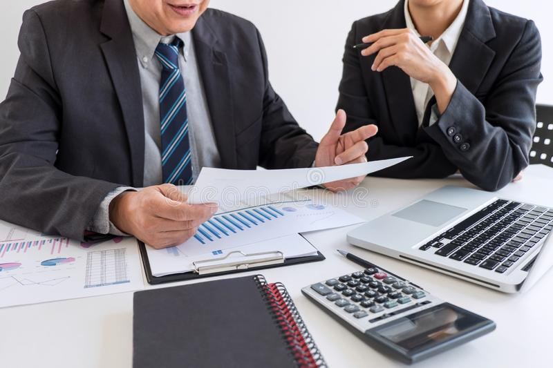 Business team partner meeting working and negotiation analyzing with financial data and marketing growth report graph presentation. In team, Meeting Talking stock image
