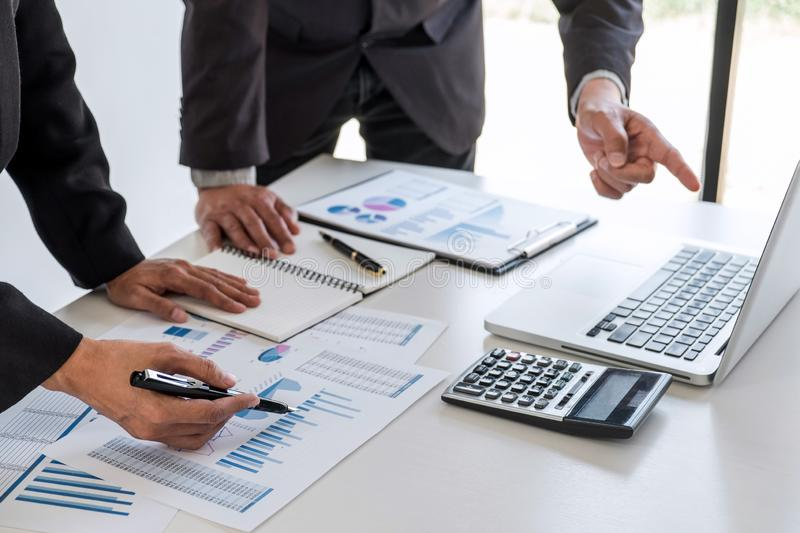 Business team partner meeting working and negotiation analyzing with financial data and marketing growth report graph presentation. In team, Meeting Talking stock photography