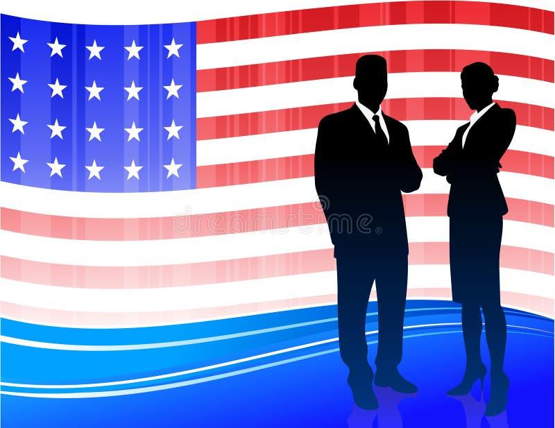 Business team on Patriotic American Flag royalty free illustration