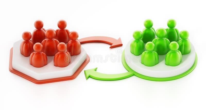 Business team people change concept. 3D illustration royalty free illustration
