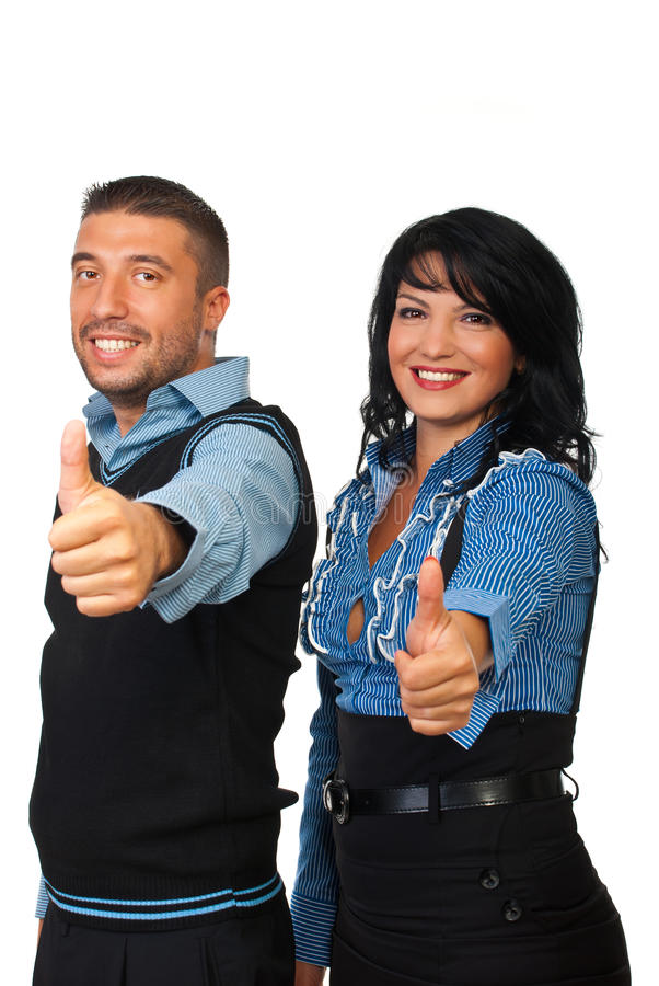 Business team people giving thumbs