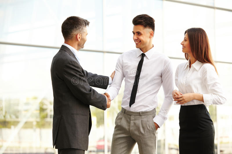 Business Team. People shake hands communicating with each other.  stock image