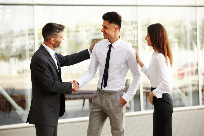 Business Team. People shake hands communicating with each other.  stock photos