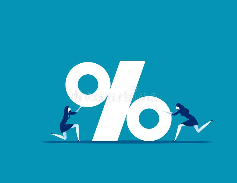 Business team with percentage sign. Concept business vector, Teamwork,  Percent, Growth stock images