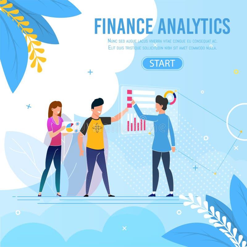 Business Team Performing Finance Analytics Banner. Professional Business Team Performing Finance Analytics Banner. Flat Cartoon Male and Female Analysts Do vector illustration
