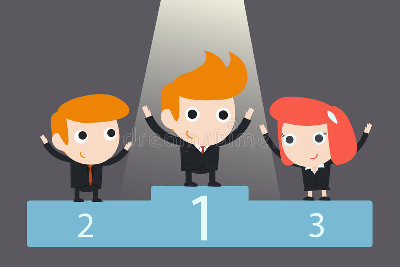 Business team on podium vector illustration