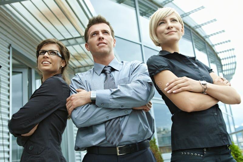 Business team posing outdoor stock photo
