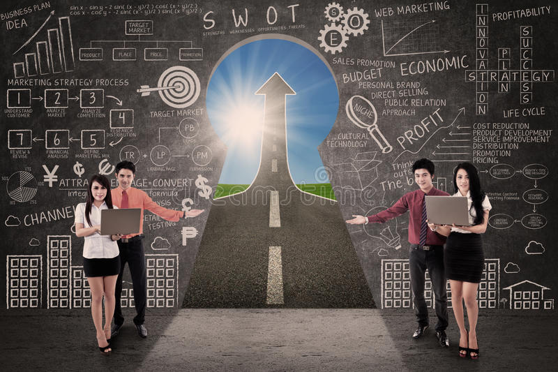 Business team present marketing road success concept stock image