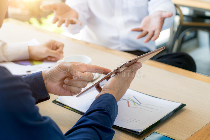 Business team present. Photo professional investor working new s stock photos