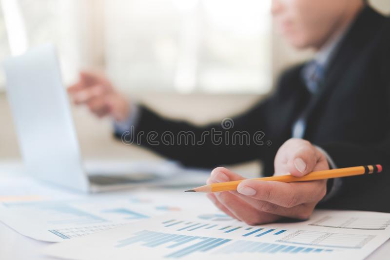 Professional investor working new startup project. stock images