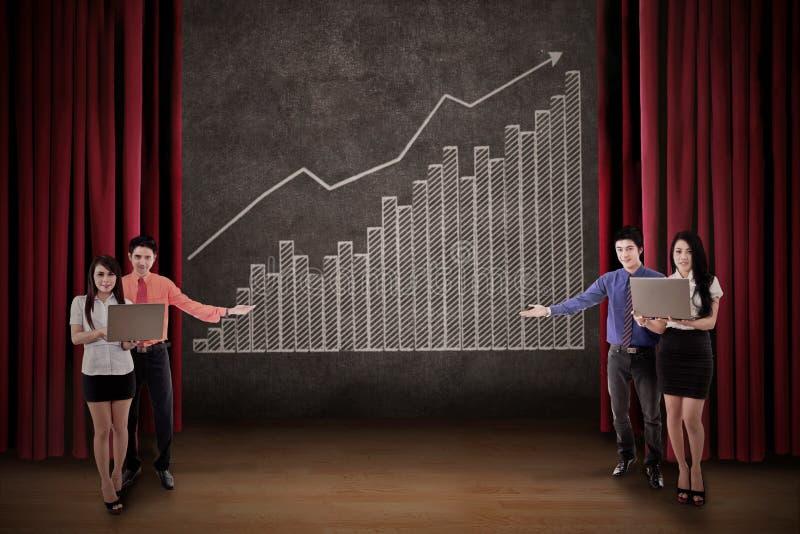 Download Business Team Present Profit Bar Chart On Stage Stock Illustration - Illustration of opera, blackboard: 31162959