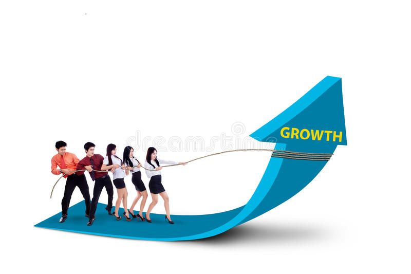 Business Team Pulling Growth Arrow Sign - Stock Photo