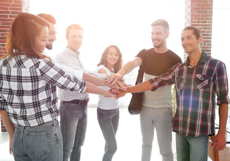 Business Team putting their hands together. Celebration unity and teamwork stock photography
