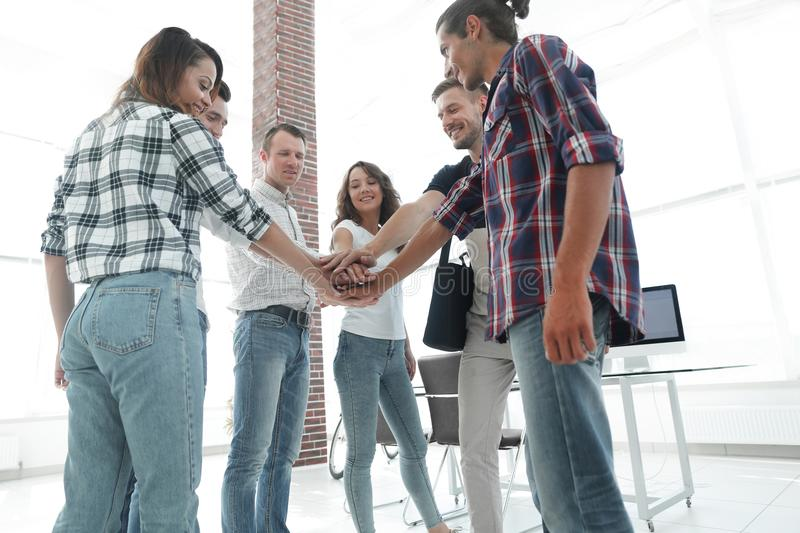 Business Team putting their hands together. Celebration unity and teamwork royalty free stock photos