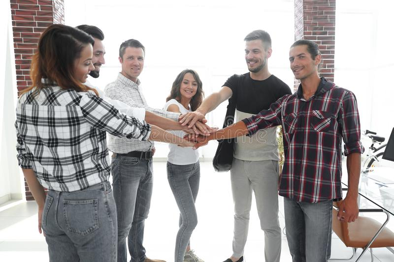 Business Team putting their hands together. Celebration unity and teamwork stock photo