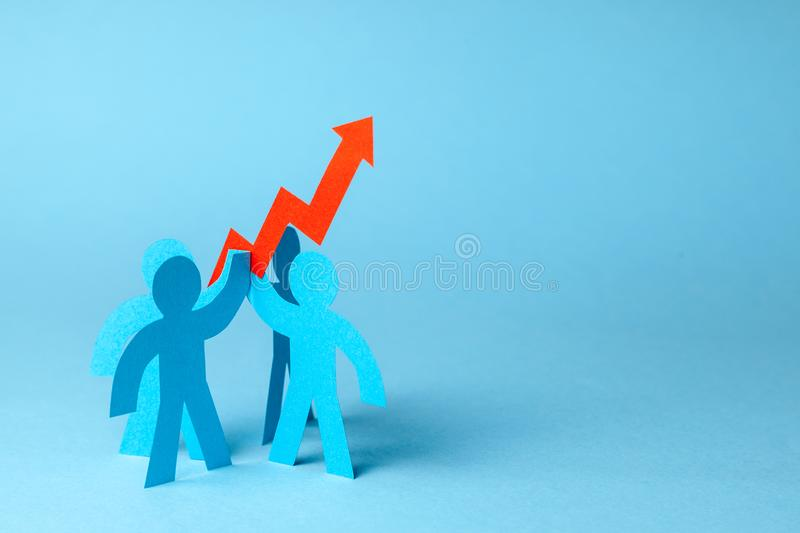 Business team and red up arrow. Sales growth and growth graph up. Copy space for text. Business team and red up arrow. Sales growth and growth graph up. Copy stock photography