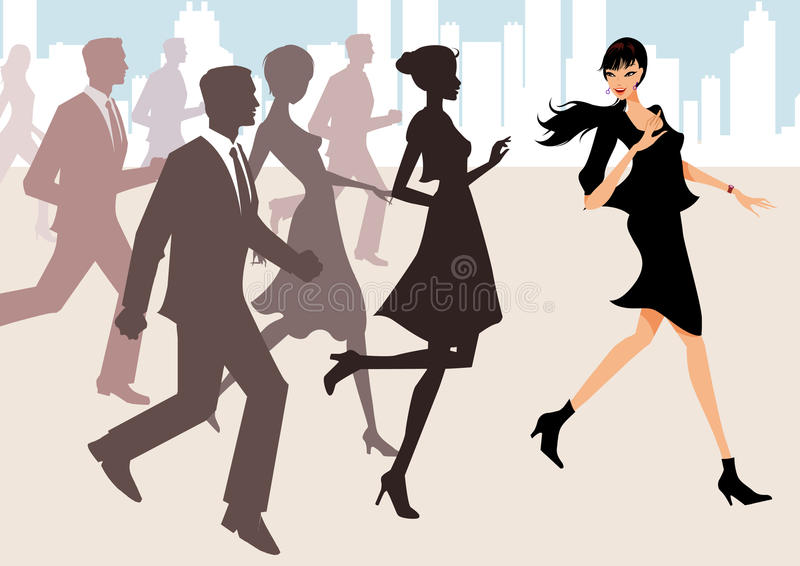 Business team running with a leading woman