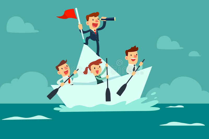 Business team sailing on paper boat. Businessman with spyglass lead business team sailing on paper boat in the ocean stock illustration