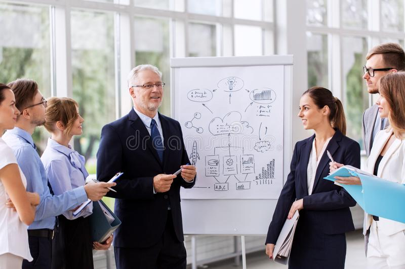 Business team with scheme on flip chart at office stock photography