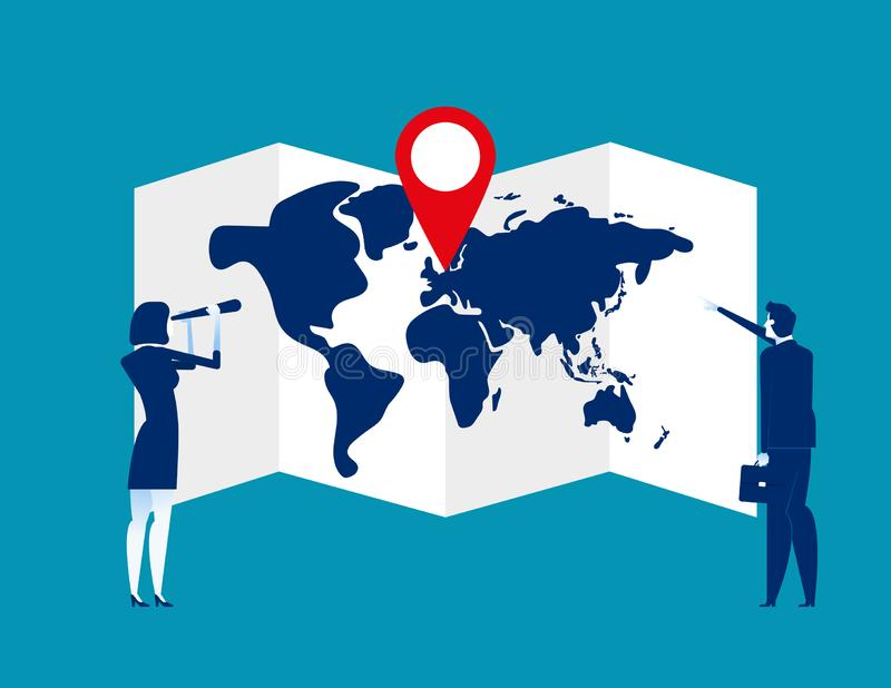 Business team searching for map with a pin. Concept business vector illustration. Pin, Searching royalty free illustration