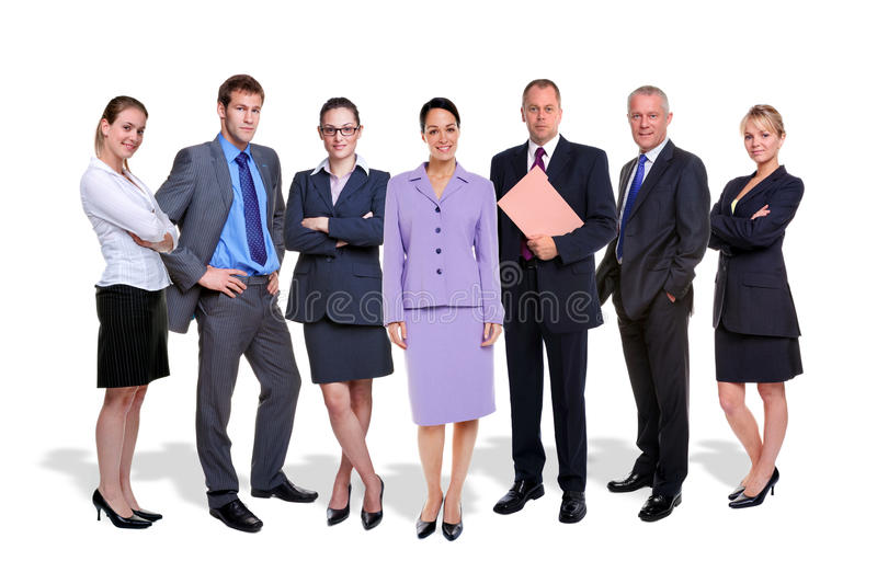Business team seven people isolated royalty free stock images