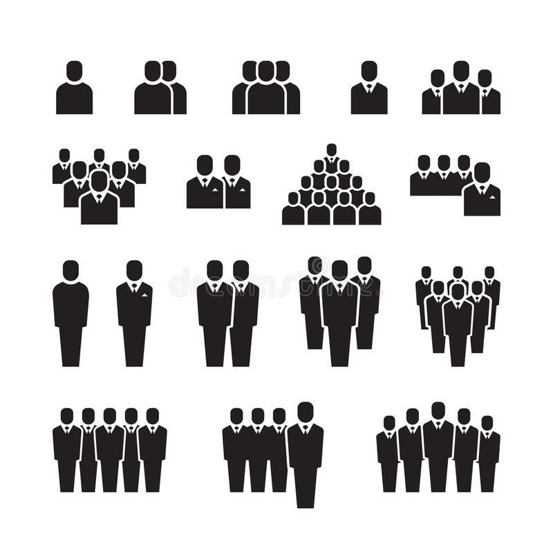Business team, silhouette people, employee, group, crowd vector icons set vector illustration