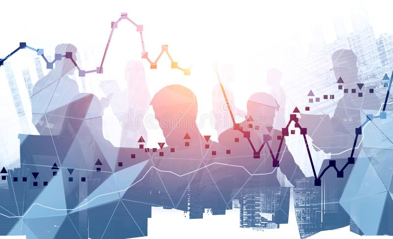 Business team silhouettes in city, graphs royalty free stock image