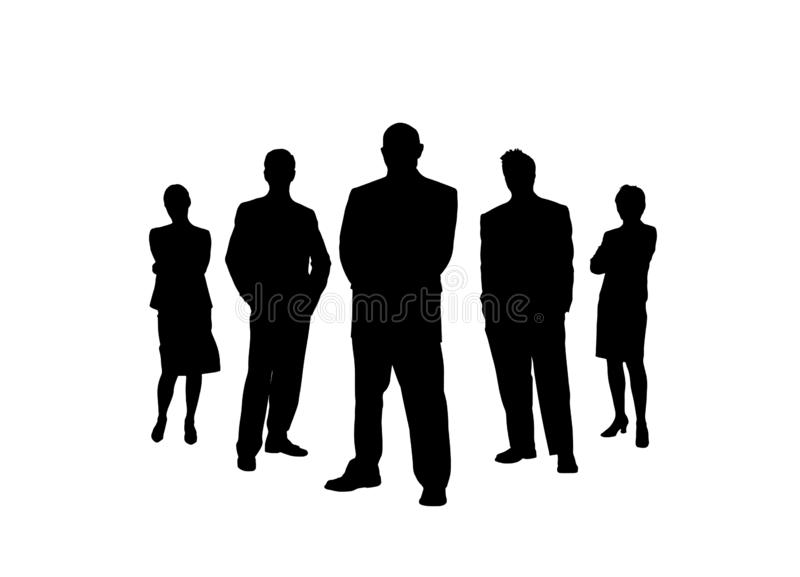 Business team. Silhouettes of men and women. Simple design royalty free illustration