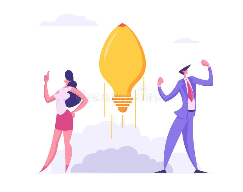 Business Team Spirit Success Start Up Concept. Business People Characters and Idea Lightbulb, Showing Creativity royalty free illustration