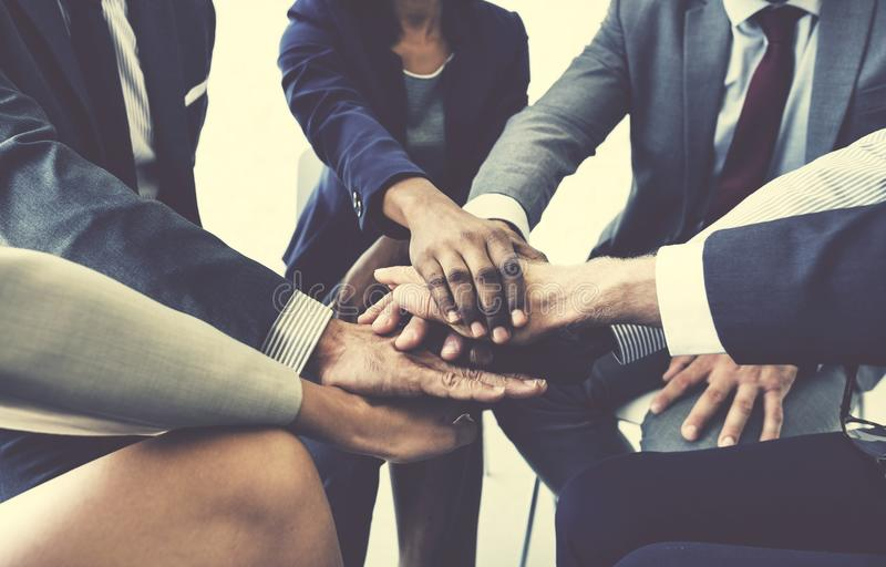 Business Team Stack Hands Support Concept. Diverse Business Team Stack Hands Support royalty free stock image