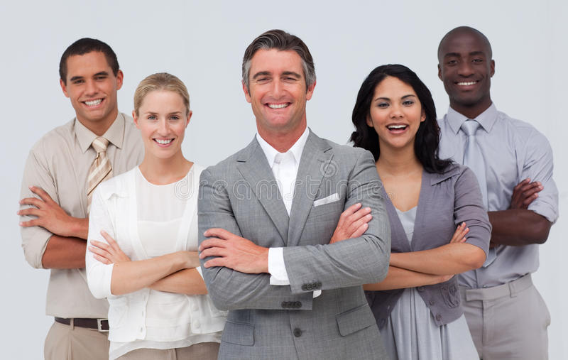 Business team standing against white background stock photo